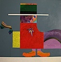 Clever Sheriff, 1995 acrylic on canvas by Eugene Martin, 36x36""
