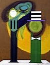Green and Mean, 2000 acrylic painting on canvas by Eugene Martin, 30x24""